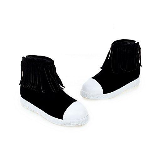 Tassels Black Suede Boots Platform Imitated Low A amp;N Girls Heels xz6fEf