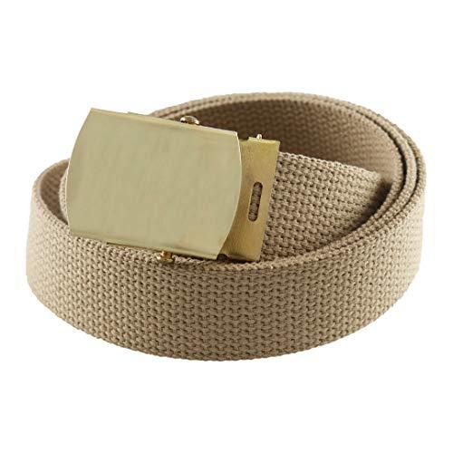 Cargo Cotton Military Brass Buckle Web Belt (Khaki) ()