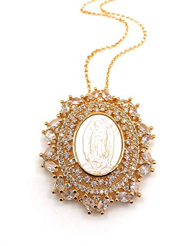 - LESLIE BOULES Mother of Pearl Guadalupe Medal Necklace 18K Gold Filled Chain 18