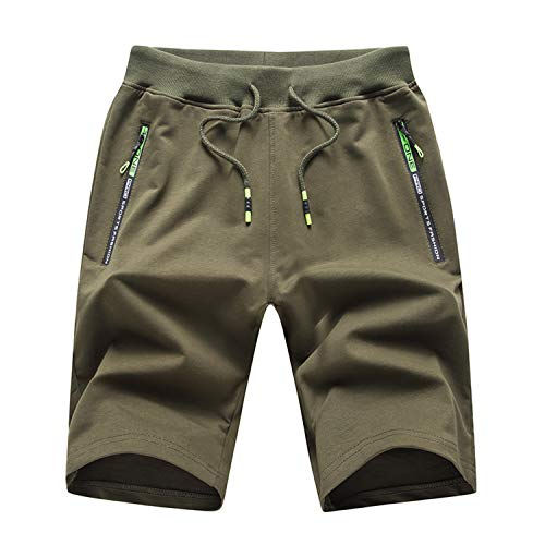 Thobisy Mens Shorts Casual Cotton Workout Elastic Waist Short Pants Drawstring Beach Shorts with Zipper Pockets