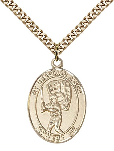 14kt Gold Filled Guardian Angel/Baseball Pendant with 24