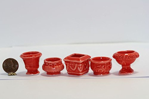 - Dollhouse Miniature Set of 5 Orange Red Glazed Ceramic Victorian Embossed Pots