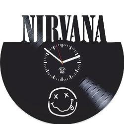 Kovides Nirvana Vinyl Clock, Kurt Cobain, Guitar, Lithium, Rock Band Music, Vinyl Record Clock, Best Gift for Dad, Boy, Vinyl Wall Clock, Home Decoration, Vinyl Wall Clock Silent, Modern Art
