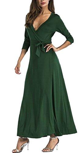 Solido Wrap Manica Dress Maxi Scollo Donne Verde Bohemien A Con Nerastro V Lunga Jaycargogo Delle nSW8wUq0w