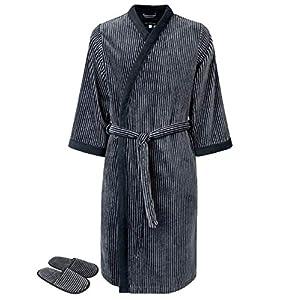 Armani International Men's Velour Kimono Collar Bath Robe Slippers Silver Grey-Black Striped