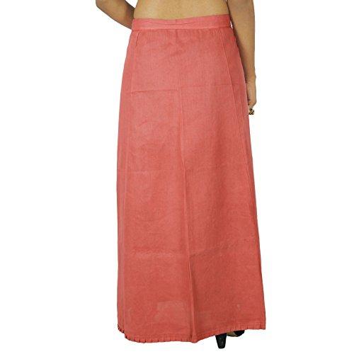 Sólido Bollywood algodón cosido Inskirt india de la enagua de la guarnición Para Sari Color de malva
