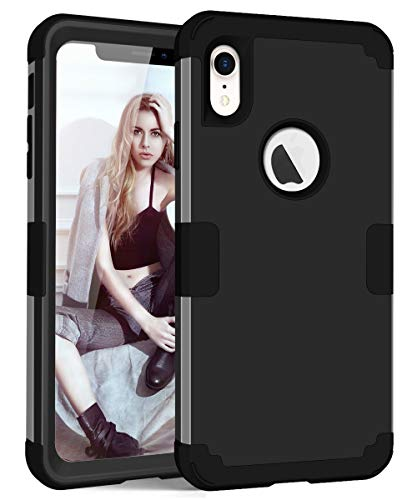 (iPhone XR [6.1inch] Case, JDHDL Hybrid Heavy Duty Shockproof Full-Body Protective Case with Dual Layer [Hard PC+ Soft Silicone] Impact Protection for Apple iPhone XR [6.1 Inch]( 2018 ) (Black))