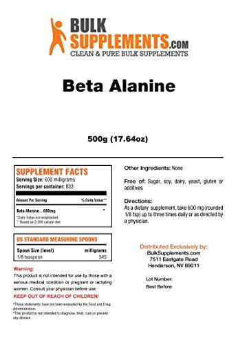 Beta Alanine Powder by BulkSupplements | Athletic Endurance & Recovery (500 Grams)