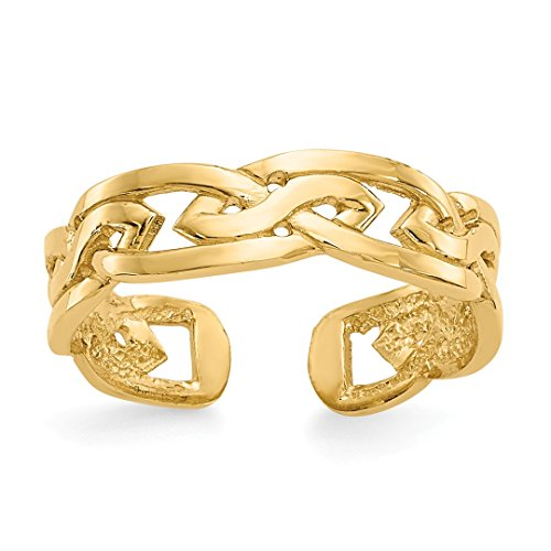 14k Yellow Gold Weave Adjustable Cute Toe Ring Set Fine Jewelry For Women Gift Set