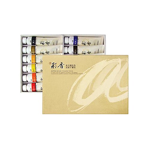 Korean Oriental Watercolour Paint Alpha Gold Set 12 Colours 50ml 1.69oz Tube by PONML
