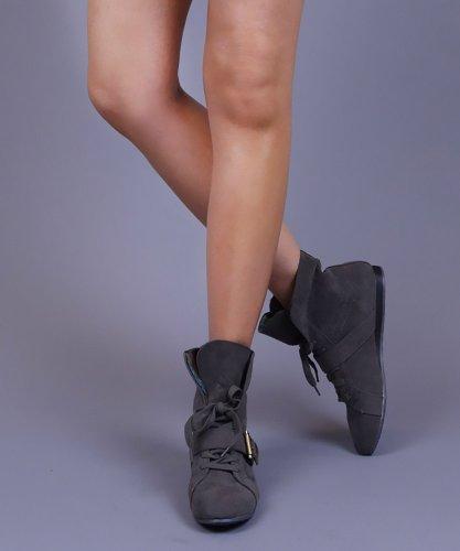 Qupid Mayday-01 Piega Polsino In Maglia Scamosciata Alla Caviglia Sneaker Grigio (6.5)