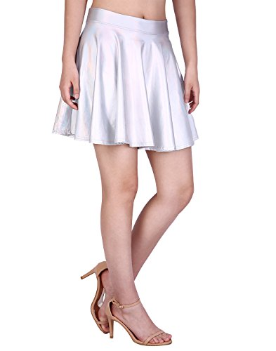 HDE Women's Casual Fashion Flared Pleated A-Line Circle Skater Skirt (Holographic, -