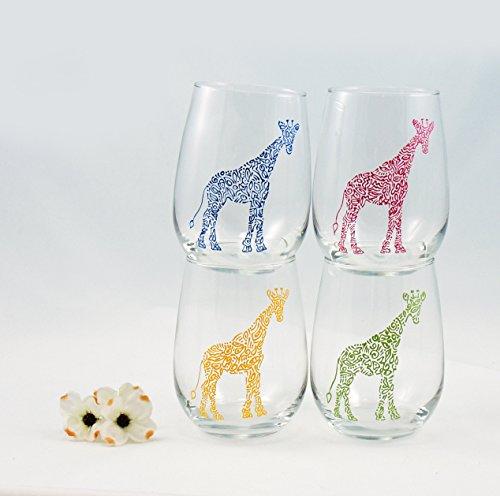 ONE hand painted giraffe stemless wine glass - Africa, Wildlife, Animal, Jungle, Safari, Zoo ()