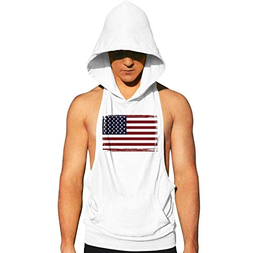 Workout Hooded Tank Tops American Flag Vintage Look Clipart Mens Sleeveless Gym Hoodie with Pocket Cool and Muscle Cut ()
