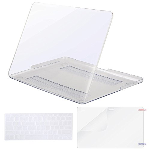 MOSISO Plastic Hard Case Shell & Keyboard Cover & Screen Protector Only Compatible [Previous Generation] MacBook Pro (No USB-C) Retina 15 Inch (Model: A1398) (No CD-ROM), Crystal Clear