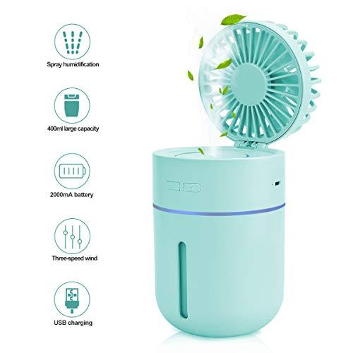 (EVILTO Misting Fan Personal Table Fan Handheld Battery Operated Fan Water Spray Humidifier Fan USB Desk Quiet Small Fan for Office Bedroom Baby Kids Travel Outdoor Blue)
