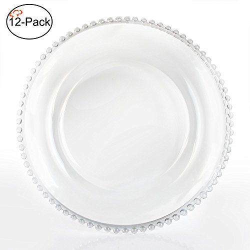 Tiger Chef 13-inch Clear Round Beaded Glass Charger Plates Set of 2,4,6, 12 or 24 Dinner Chargers (12-Pack)