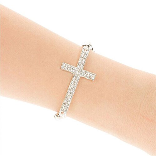 RoseSummer Hot Fashion Crystal Rhinestone Cross Love Infinity Stretch Beaded Bracelet Gift (sliver)