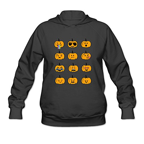 URRMT Women's 2016 Halloween Pumpkin Emojis Costume Hoodie Black (Woman Halloween Costume Ideas 2016)