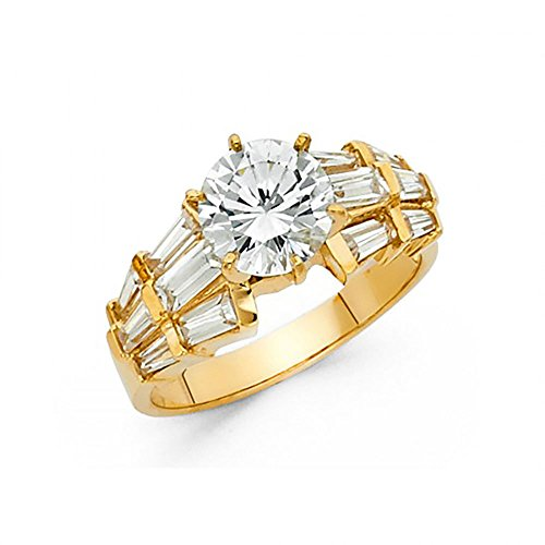 14k Yellow Gold CZ 3 Row Channel Set Baguette Engagement Ring
