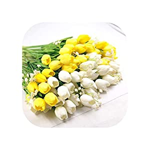 Sweet*love 12Pcs Tulip Artificial Flowers for Home Wedding Party Pu Real Touch Flowers Wedding Decorative Flowers & Wreaths 102