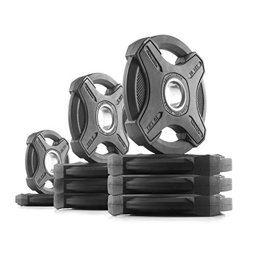 XMark 65 lb Set Signature Plates, One-Year Warranty, Olympic Weight Plates, Cutting-Edge Design by XMark Fitness (Image #4)