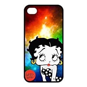 4S Case,TPU iPhone 4s Case,Betty Boop Design Fashion Pattern Hard Back Cover Snap on Case for iPhone 4 / 4s (Black/white)