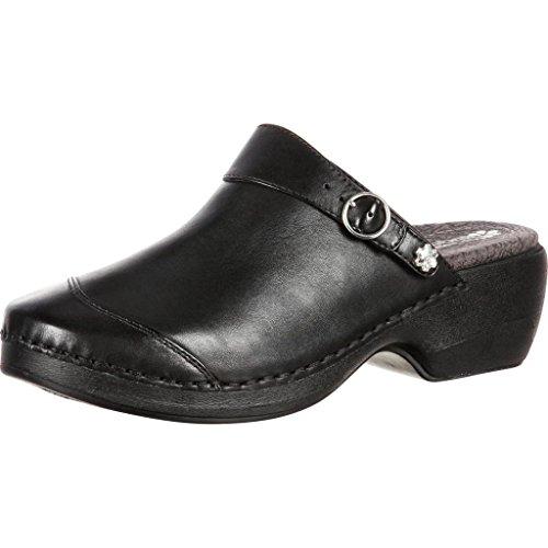 4EurSole Work Shoes Womens Nubuck Leather Clog Black RKYH046