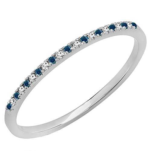 0.08 Carat (ctw) 14K Gold Round Blue & White Diamond Ladies Dainty Wedding Stackable Band