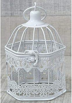 Hogar y Mas Jaula Decorativa Metálica, Color Blanco, con diseño Elegante y Estilo Vintage Pequeño