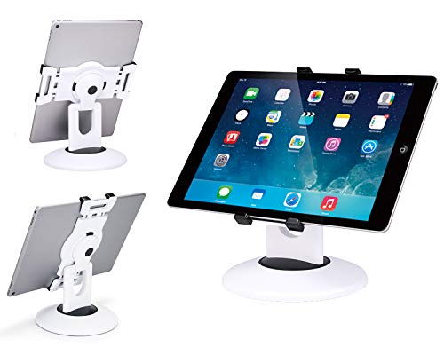 Max Smart Retail Kiosk iPad Stand, 360 Rotating Commercial Tablet Stand, 7.9 to 13 inch iPad Mini Pro Business Tablet Holder, Swivel Design for Store Office Showcase Reception Kitchen Desktop (White)