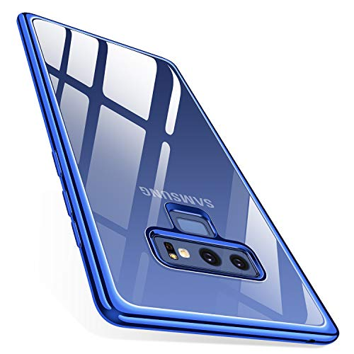 Crystal Clear Blue Case - TORRAS Crystal Clear Galaxy Note 9 Case, Clear Ultra Thin Slim Fit Soft TPU Gel Case Cover with Electroplated Frame Compatible with Samsung Galaxy Note 9(2018), Clear Back/Blue Frame