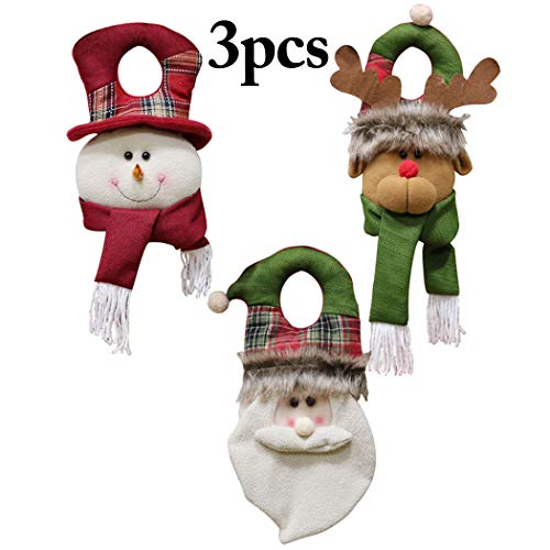 Outgeek 3PCS Christmas Door Hanger Snowman Santa Elk Door Knob Hanger Xmas Door Decor