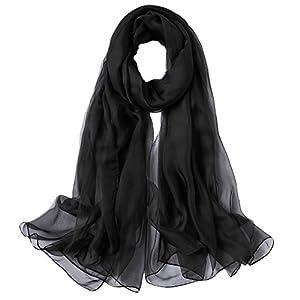 MaaMgic Women Large Silky Feel Pashmina Shawls Wraps Light Scarf Chiffon Scarves