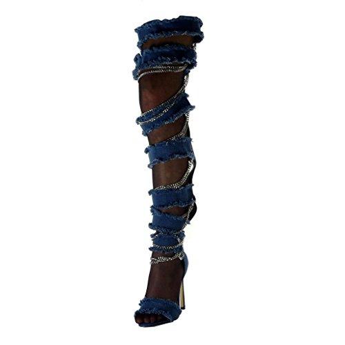 Denim Farkut Kengät Naisten Rispaantunut Cm Angkorly Boot Muoti Korkokenkiä 11 Auki Boots Ketjut Tikari Reiteen 5 Repäisi qz1g81WE