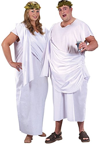 Ladies or Mens XL Plus Size White Roman Greek God Goddess Toga Party Historical Fancy Dress Costume Outfit (One Size (Plus))