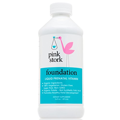 Pink Vitamins (Pink Stork Foundation: Liquid Prenatal Vitamin -78% Better Absorption than Pills & Capsules -Organic Whole Food -Gluten & Sugar Free, Vegetarian, Non-GMO -100% of Daily Vitamins for Pregnancy)