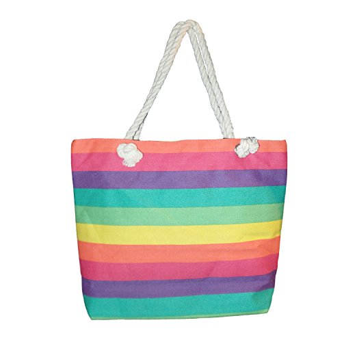 "Custom Personalized Multi Color Striped Canvas Beach Tote Bag - 18"" X 13"" X 5"" (Blank, Rainbow Stripe)"