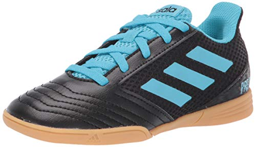 adidas Unisex-Kid's Predator 19.4 in SALA Soccer Shoe, Black/Bright Cyan/Solar Yellow, 1 M US Little Kid
