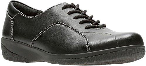 CLARKS Women's Cheyn Ava Oxford, Black Leather, 8 M US