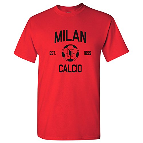 Milan Graphic T-shirt - Milan Italy Home Kit World Classic Soccer Football Arch Cup T Shirt - 3X-Large - Red