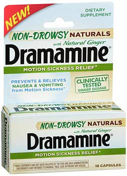 - Dramamine Non-Drowsy Naturals with Ginger Motion Sickness Relief Capsules - 18 Tablets, Pack of 3