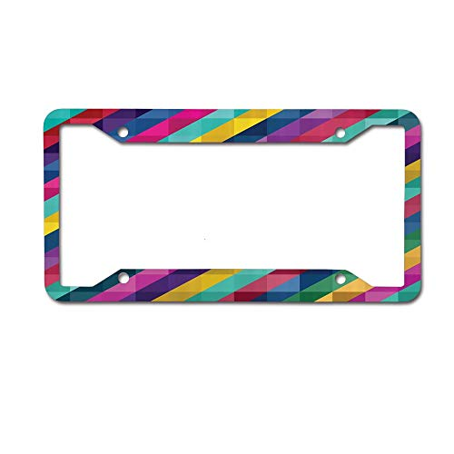 Framed Tag Art - Mrsangelalouise Abstract Background Low Poly Style Design Colorful Art with Framed Lettering License Plate Frame Car tag Aluminum Car Licence Plate Cover for US Standard 4 Holes Screws