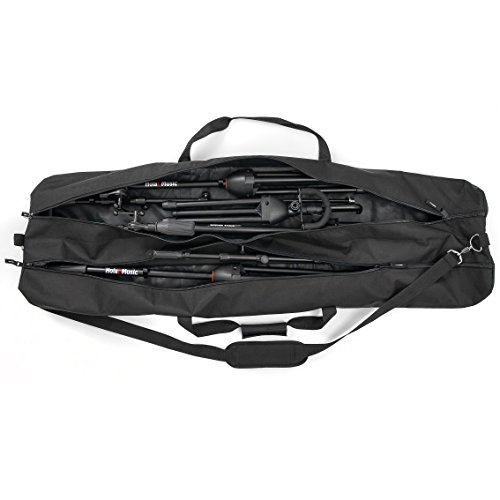 Speaker and Microphone Stand Gig Bag by Hola! Music, Dual Compartment, 50 Inch Long with Shoulder Strap