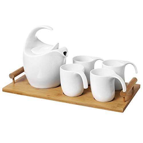 6-pc Modernist White Ceramic Tea Service Set with Teapot, 4 teacups & Bamboo Serving Tray