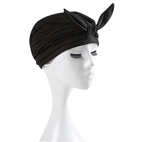 Silicone Swimming Cap Hair Protector Ear Wrap Waterproof Hat Black - 5