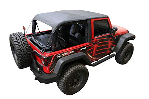 RAMPAGE PRODUCTS 106135 Frameless Sailcloth Trail Top for 2007-2018 Jeep Wrangler 2-Door, Black Diamond