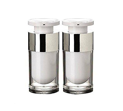 erioctry 2PCS 15ml/30ml/50ml White Empty Portable Refillable High-Grade Acrylic Airless Vacuum Pump Bottle Vial Travel Cream Lotion Toner Container Pot (15ml/ 0.5oz) ()