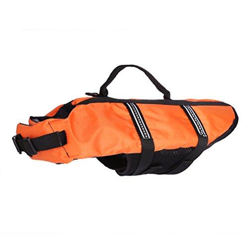 Yupro easy-fit verstellbare PET Hund oder Schwimmkleidung Katze Schwimmweste Sicherheit mit Gurt Befestigung PET Schwimmhilfe-Orange,S