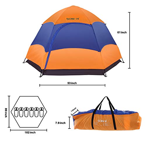 Sowin Family Camping Tent 3-4 Person Automatic Instant Pop up Lightweight Backpacking Dome Tent with Removable Waterproof Trap for Outdoor Picnic Beach Hiking Fishing with Carry Bag
